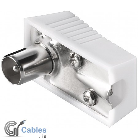 RF Coaxial 90° Right Angle Aerial White Male Plug For Coax Cable