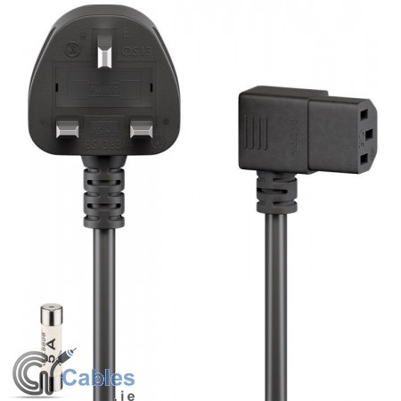 Power Cord UK to Right Angle ICE Plug (Kettle Lead)