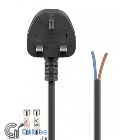 Power Cord UK Loose Ends 2 x Cores