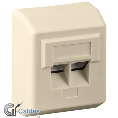 Surface mounted CAT 5e wall plate 2 x RJ45