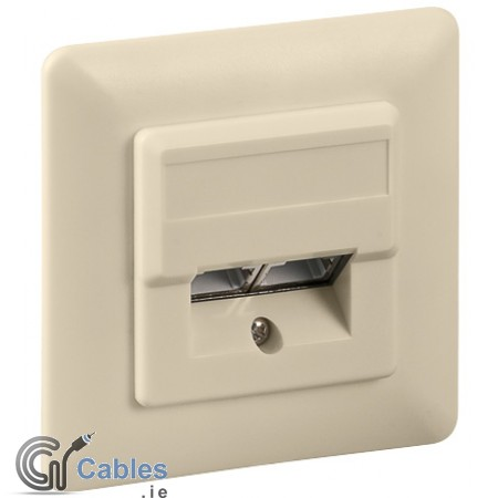 Flush mounting CAT 5e wall plate 2 x RJ45