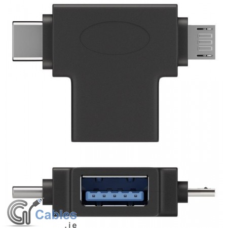 USB-A to USB 2.0 Micro-B T-Adapter (USB-C)