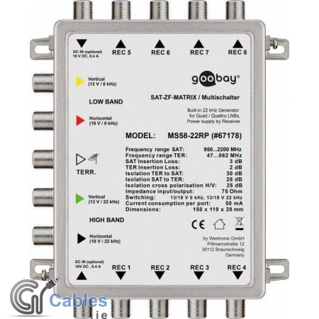Passive Satellite Multiswitch 5 In / 8 Out