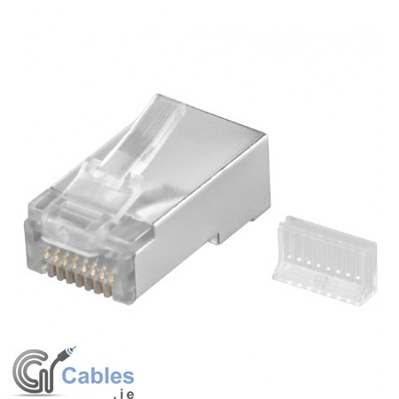 RJ45 plug shielded with threading relief