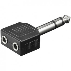 6.35mm Stereo Plug to 2 x 3.5mm Stereo socket Adapter