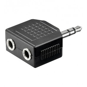 3.5mm Stereo Plug to 2 x 3.5mm Stereo socket Adapter
