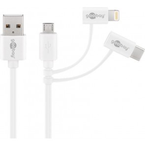 3 in 1 USB Charging and Sync Cable - Micro USB/USB-C/Apple Lightning