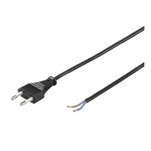 Power cable 2 Pin Euro plug with stripped core ends - 1.5m
