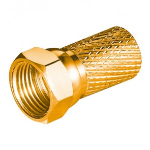 Wide Twist-On F-Plug ø 7.0 mm - 20 mm (Gold plated)