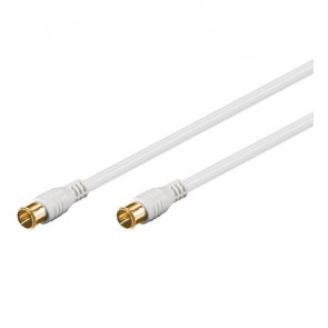 Coax cable Quick F-plug to Quick F-plug (gold plated) - White