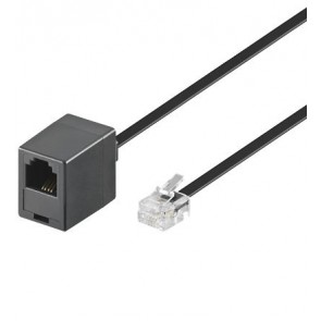 Telephone extension cable - 4 wire Black