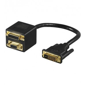 DVI-I plug to DVI-I and SVGA socket