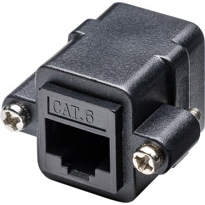 CAT 6 UTP Panel Mount adapter with mounting flange