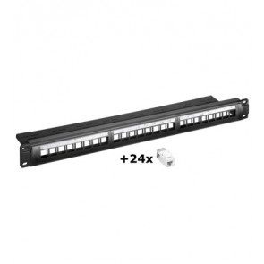 24 Port Snap-in Keystone Patch Panel with CAT 6 UTP Insert