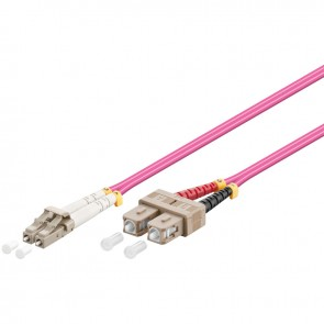 LC - SC Multimode Duplex Fiber Patch Cable (OM4 - Violet)