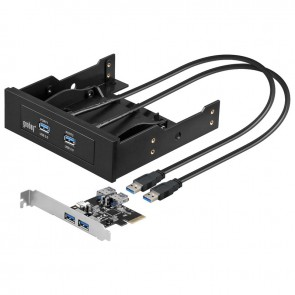 "4 Port USB 3.0 front panel 3.5""/5.25"" with PCIe Controller"